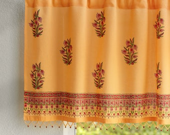 Indian Summer (CP), Beaded Curtains, Indian Valance, Yellow Linen Curtains, Paisley Valance, Window Treatment, Voile Curtains Panels