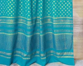 Jeweled Peacock Turquoise Gold Sari India Curtain Panel