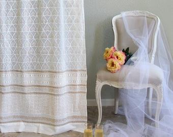 Bridal Veil ~ Block Print Curtains, Tab Top Curtains, Indian Curtains, Bedroom Curtain Panels, Window Curtains, Shower Curtains,Rust Curtain