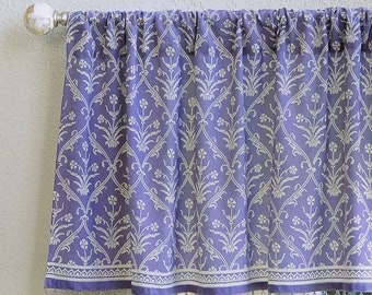Victorian Lilac ~ Lavender cotton valance for window treatment. Ethnic cafe curtains handmade in India