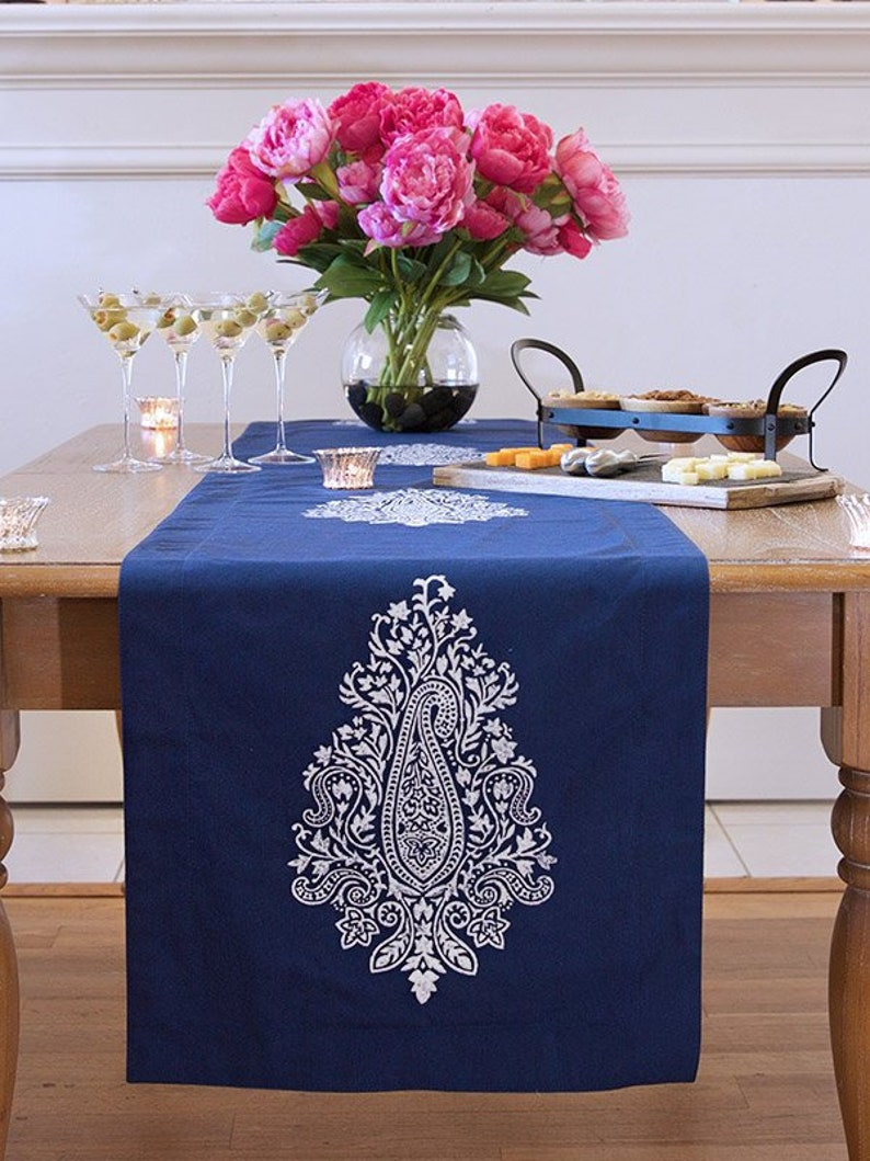 Mood Indigo ~ Modern Navy Blue White Paisley Print Table Runner