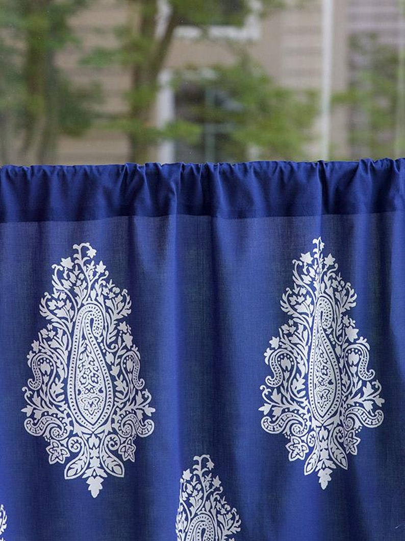 Mood Indigo ~ Modern Navy Blue White Paisley Kitchen Curtain
