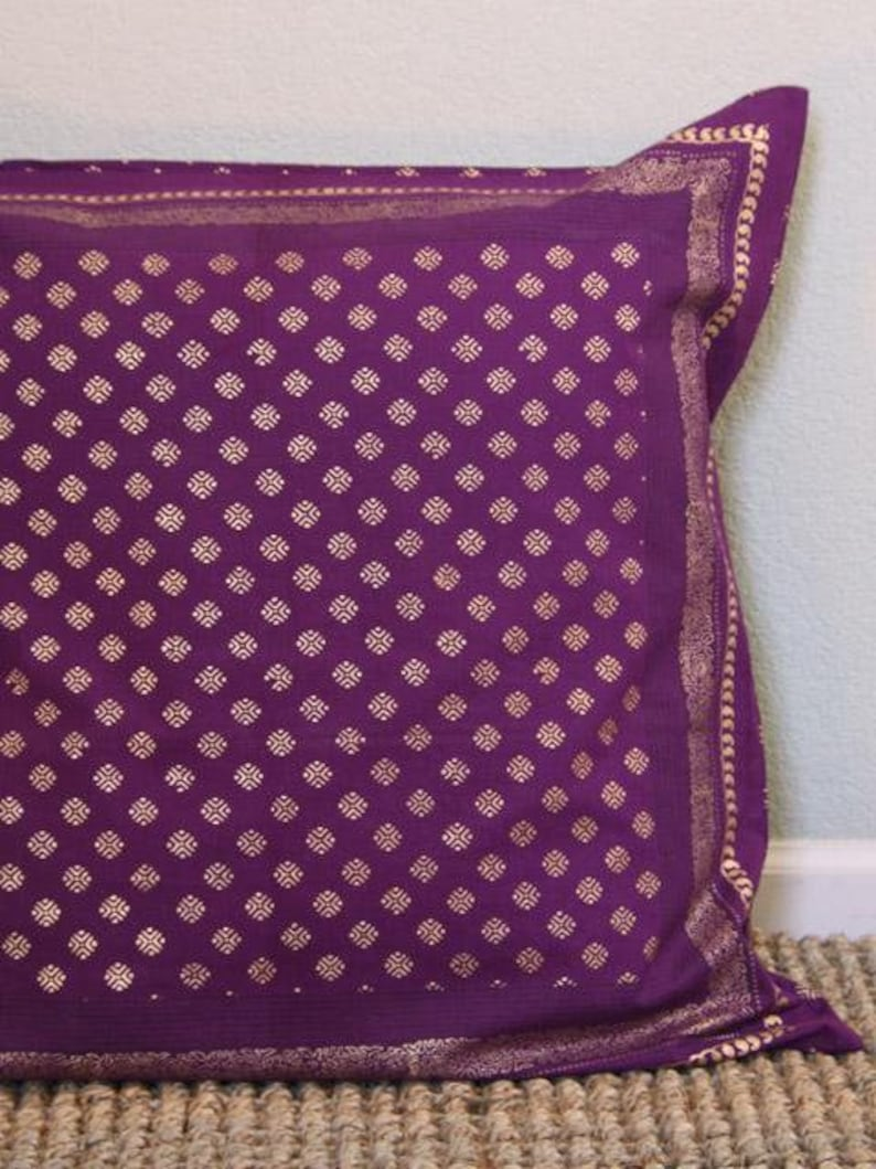 Mystic Amethyst ~ Plum Purple /& Gold Sari Print India Euro Sham