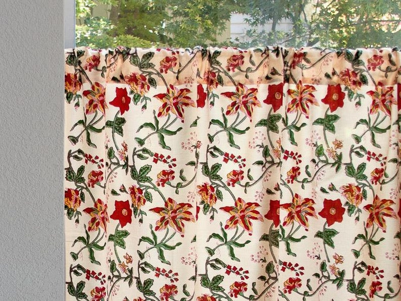 Tropical Garden ~ Country Cottage Colorful Kitchen Curtain