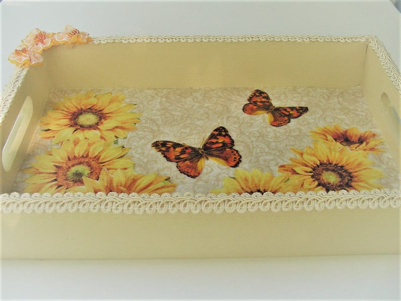 b6c2070d2799 Sunflower Tray with Butterflies Sewing Supplies Handcrafted | Etsy