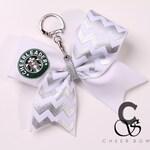 "Silver Chevron ""Cheerleader"" Cheer Bow Keychain"