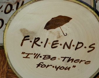 Aspen Coasters Etched Set of 6 FRIENDS, Pivot, Smelly Cat, Your my Lobster, How you doin?, We were on a Break