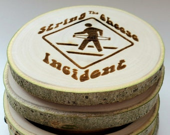 Aspen Coasters Etched Set of 4 - String Cheese Incident inspired - SCI