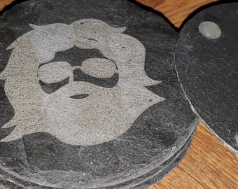 Slate Rock Coasters, Etched, Grateful Dead, Jerry Garcia, Set of 4, Natural Handmade, Stone Coasters