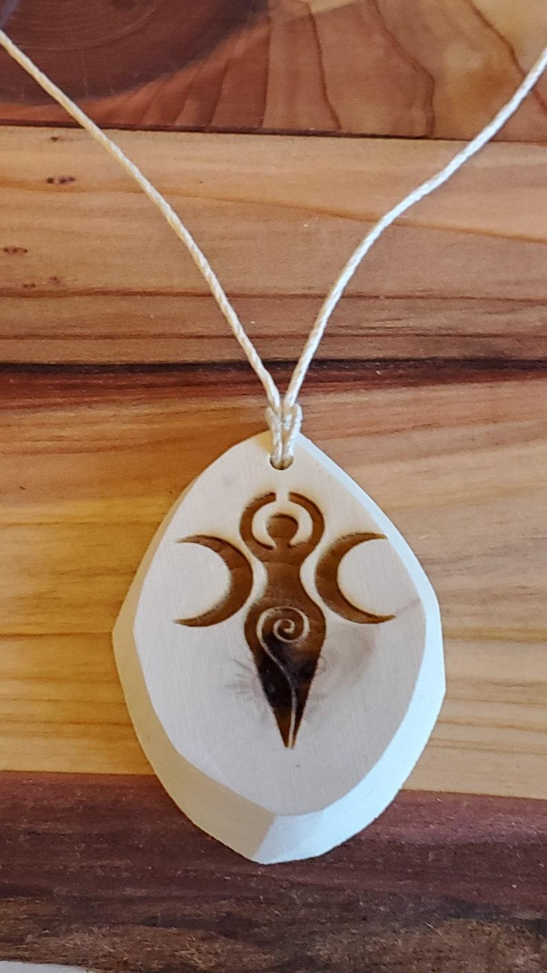 Aspen Pendant Hemp Necklace  Etched Beveled  Goddess image 1