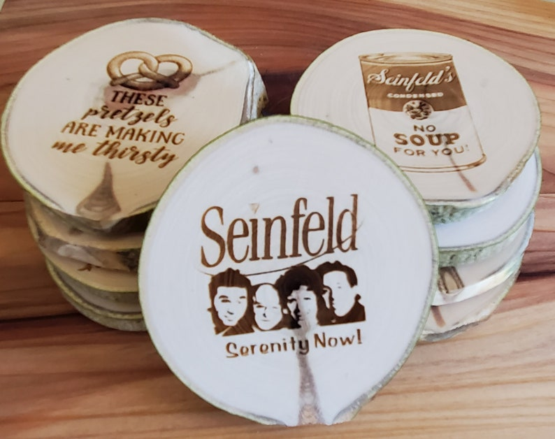 Aspen Coasters Etched Set of 9 SEINFELD Serenity Now image 1