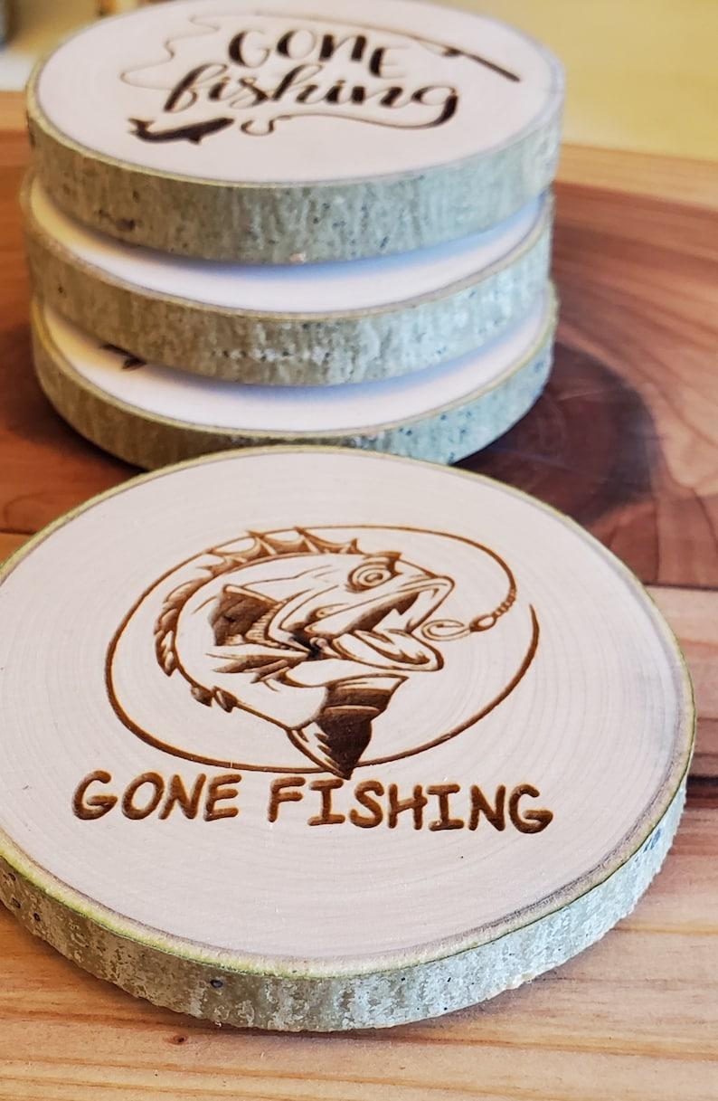 Aspen Coasters  Etched Set of 4  Fishing Gone Fishing image 1