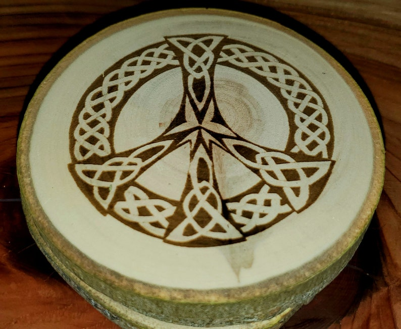 Aspen Coasters Etched Set of 4   Peace Signs  Celtic Native image 1