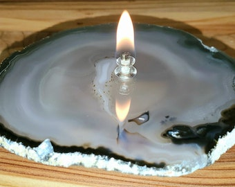 Agate Candle Natural Handmade Rock Candle, FREE Starter Kit w/ natural lamp oil, Agate Oil Candle Lamp, Oil Lamp, Rock Oil Candle, Geode