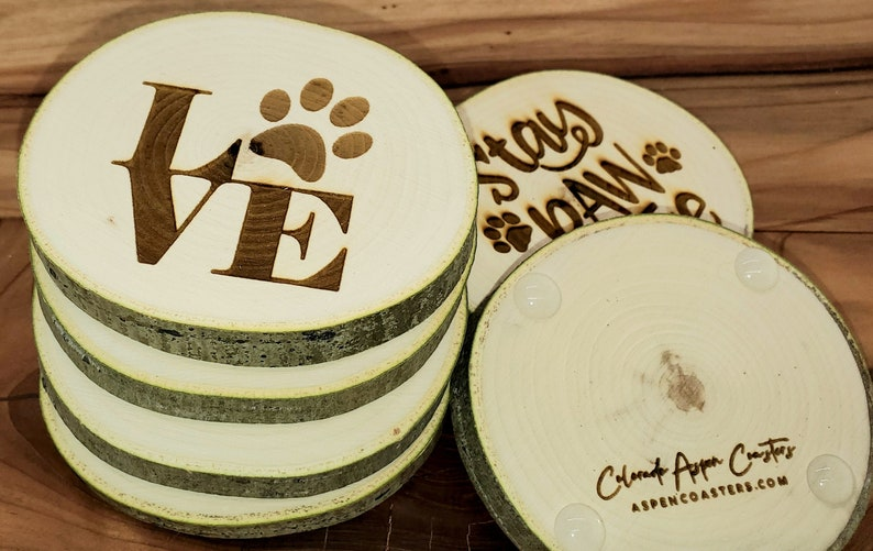 Aspen Coasters  Etched Set of 6  Dog Lovers image 1