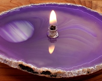 Agate Candle Purple Handmade Rock Candle, FREE Starter Kit w/ natural lamp oil, Agate Oil Candle Lamp, Oil Lamp, Rock Oil Candle, Geode