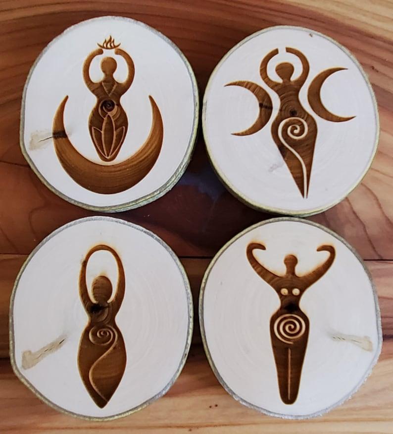 Aspen Coasters  Etched Set of 4  Goddess image 1