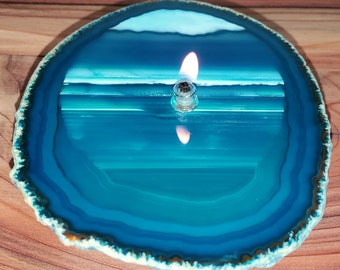 Agate Candle Large Teal Handmade Rock Candle, FREE Starter Kit w/ natural lamp oil, Agate Oil Candle Lamp, Oil Lamp, Rock Oil Candle, Geode