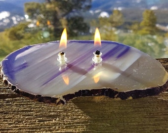 Agate Candle Large Purple 2 wick Handmade Rock Candle, FREE Starter Kit w/ natural lamp oil, Agate Oil Candle Lamp, Rock Oil Candle, Geode