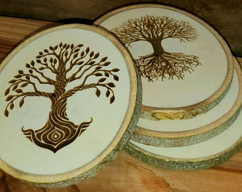 Aspen Coasters Etched Set of 4 - Tree of Life