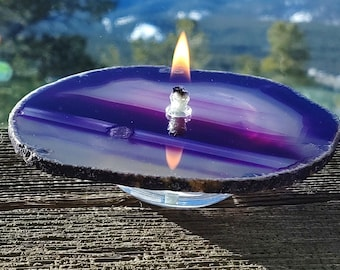 Agate Candle Large Purple Handmade Rock Candle, FREE Starter Kit w/natural lamp oil, Agate Oil Candle Lamp, Oil Lamp, Rock Oil Candle, Geode