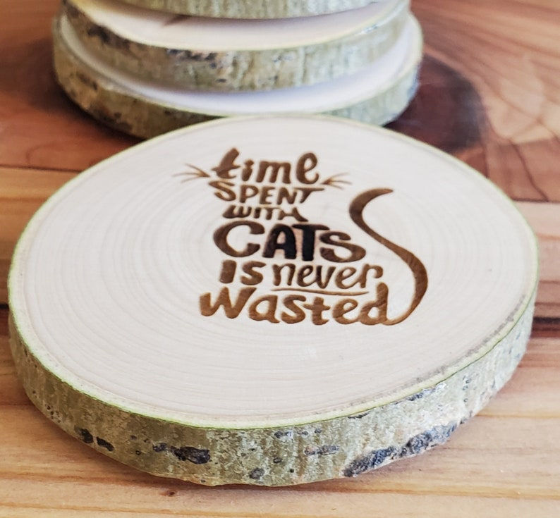 Aspen Coasters  Etched Set of 6  Cat Lovers image 1