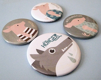 4 MAGNETS SET   3 little pigs · Designkiosk