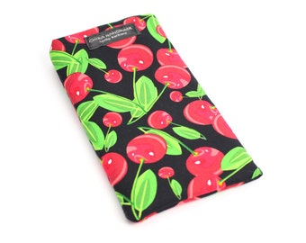 Eyeglass case for readers - Red Cherry fabric   checkbook case or cell phone pouch.