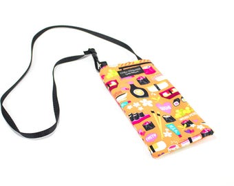 Eyeglass case for readers - Japanese Sushi fabric Eyeglass Reader Case -with adjustable neck strap lanyard