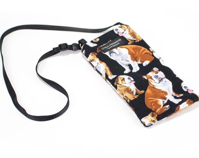 Bulldog fabric Eyeglass Reader Case -with adjustable neck strap lanyard