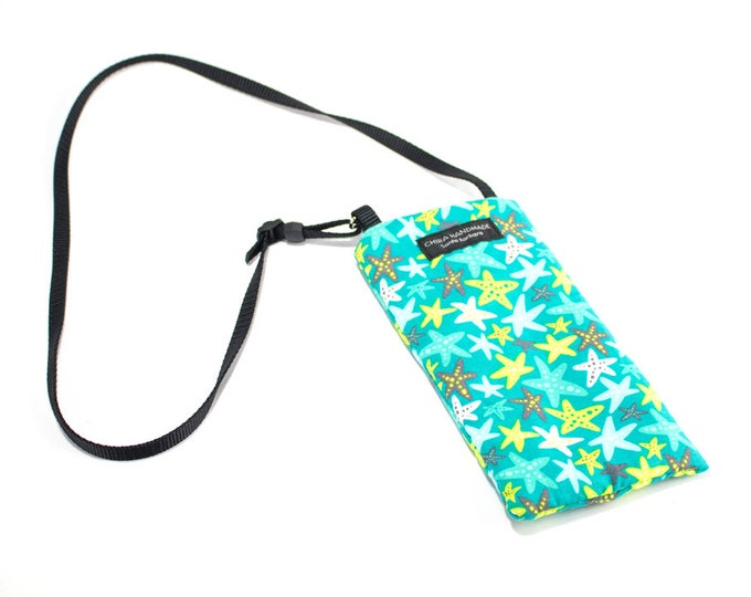 Eyeglass case for readers - Starfish fabric Eyeglass Reader Case -with adjustable neck strap lanyard