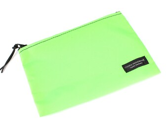 8x6 inch Lime Green basic nylon zipper pouch -- use for travel, snacks, cosmetics, a tool bag, photo-video gear, and more!