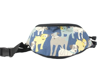 Fanny pack Cute Blue Dog fabric -  - Hip Waist Bag with 2-zippered compartments