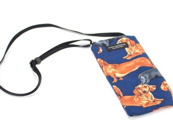 Dachshund Dog fabric Eyeglass Reader Case -with adjustable neck strap lanyard