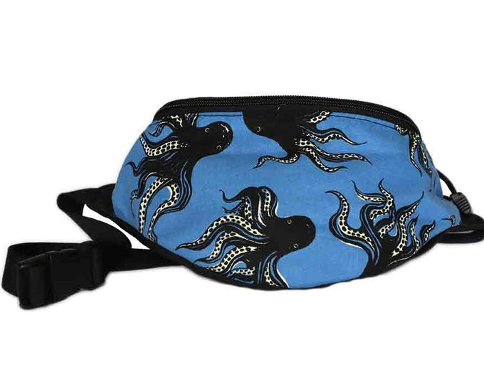 Fanny pack Octopusl Sea fabric - Cute  - Hip Waist Bag - 2 Zippers