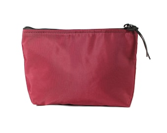 """7"""" Maroon Berry Nylon fabric cosmetic bag/pouch"""