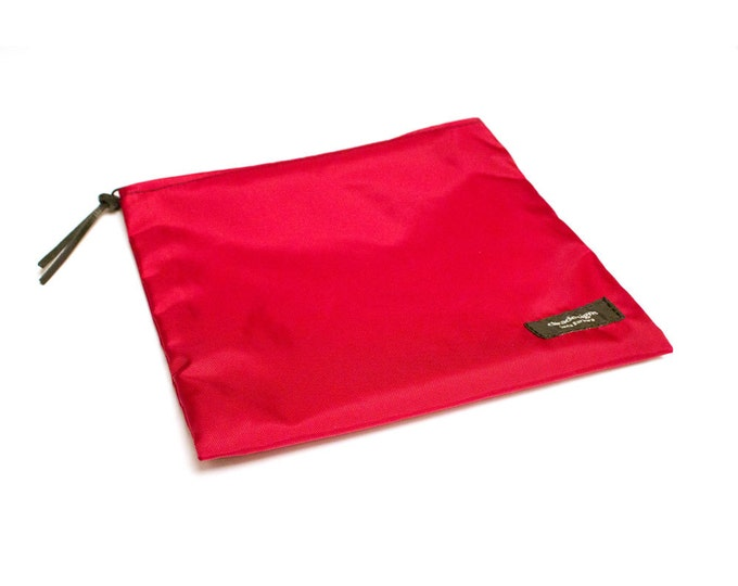 Nylon Pouch 8x8 inch Red   use for travel, snacks, cosmetics, a tool bag, photo-video gear, and more!