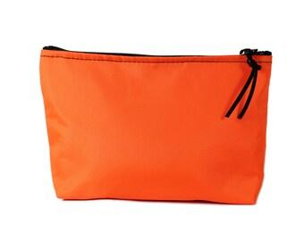 "9"" Orange Nylon fabric cosmetic bag/pouch"