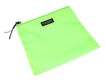Nylon Pouch 8x8 inch Neon Green   use for travel, snacks, cosmetics, a tool bag, photo-video gear, and more!