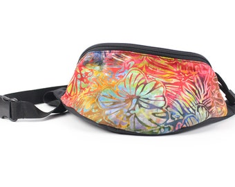 Fanny pack Batik Hawaiian Rainbow Hibiscus Floral fabric  - Hip Waist Bag with 2-zippers