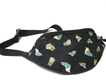 Fanny pack Little Bird Black fabric - Cute  - Hip Waist Bag for travel, sport, and hiking
