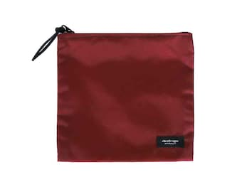 Nylon Pouch 8x8 inch maroon burgandy nylon zipper  use for travel, snacks, cosmetics, a tool bag, photo-video gear, and more!