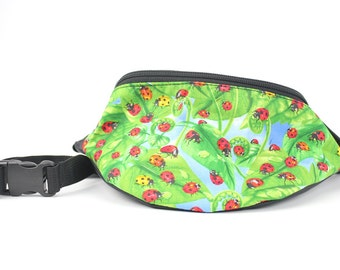 Fanny pack Ladybug garden fabric  - Hip Waist Bag for travel, sport, and recreation with 2-zippers