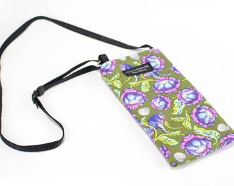 Eyeglass case for readers - Tiger Lotus fabric Eyeglass Reader Case -with adjustable neck strap lanyard