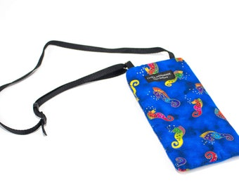 Eyeglass case for readers - Seahorse fabric Eyeglass Reader Case -with adjustable neck strap lanyard