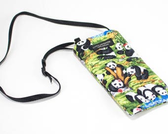 Eyeglass case for readers - Panda Play fabric Eyeglass Reader Case -with adjustable neck strap lanyard