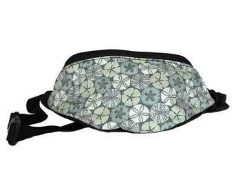 Fanny pack Sand dollar fabric - Cute  - Hip Waist Bag - 2 Zippers