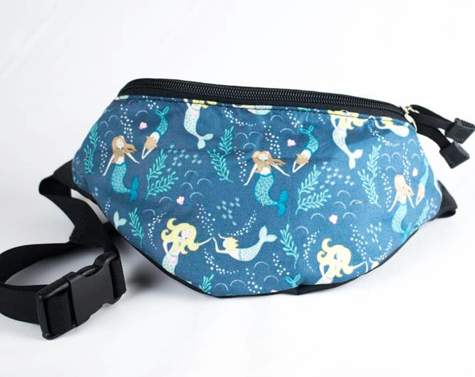 Fanny pack Mermaid Sea fabric - Cute  - Hip Waist Bag - 2 Zippers