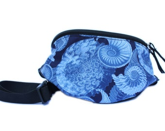 Fanny pack Blue Conch Shell fabric  - Hip Waist Bag