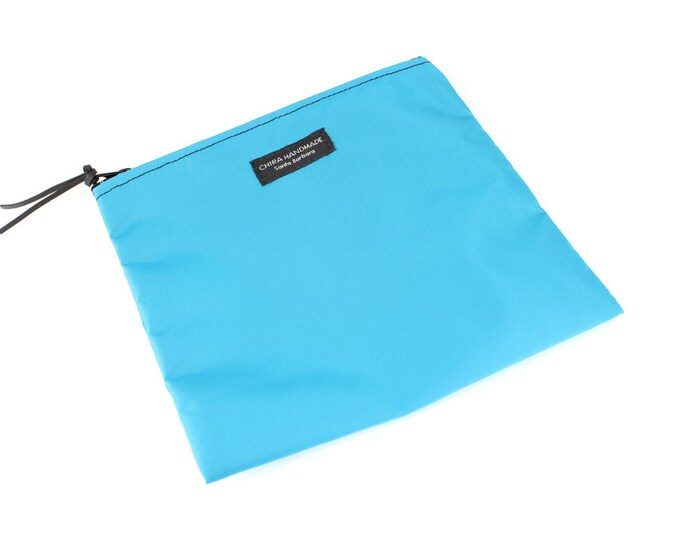 Nylon Pouch 8x8 inch Neon Blue   use for travel, snacks, cosmetics, a tool bag, photo-video gear, and more!